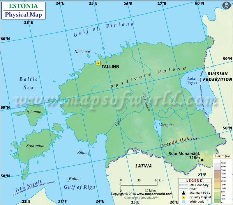 Physical Map of Estonia