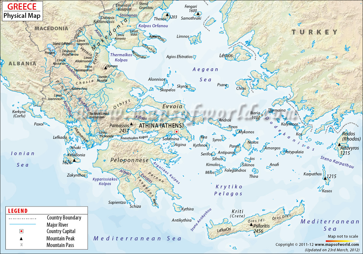 Greece Physical Map Physical Map of Greece