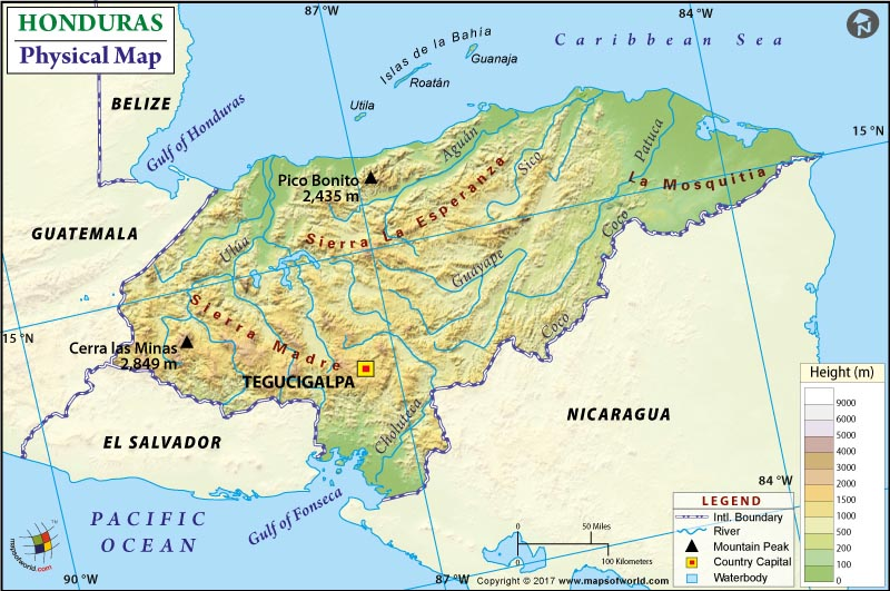 Physical Map of Honduras
