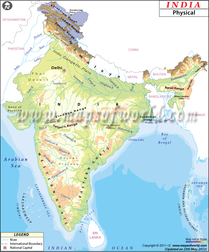 Physical map of india india physical map physical map of india gumiabroncs Images