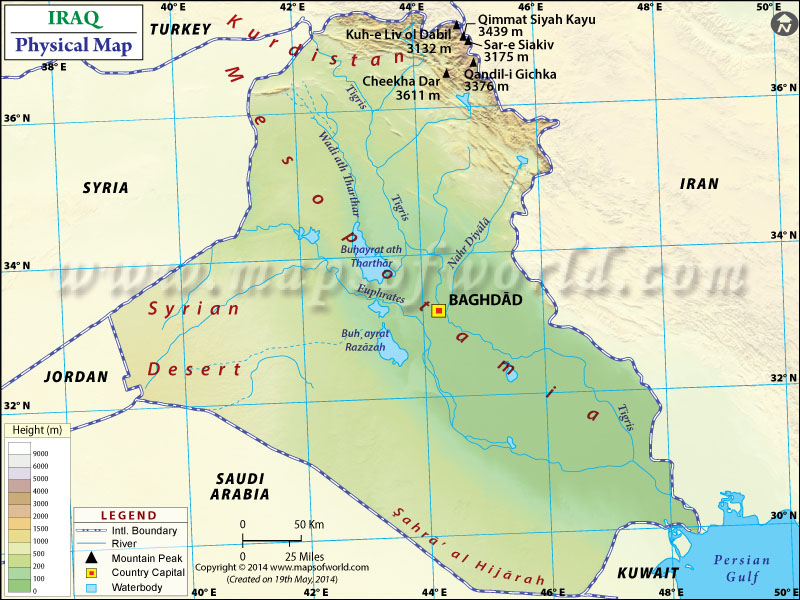 Physical Map of Iraq