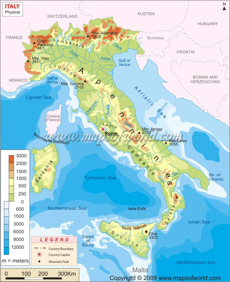 Italy Physical Map, Physical Map of Italy