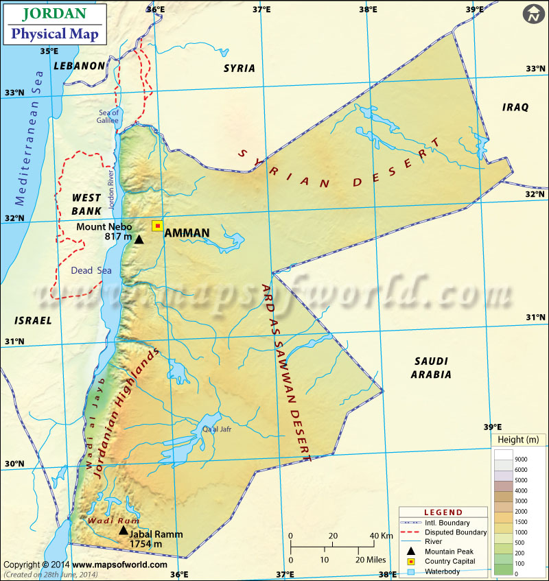 Physical Map of Jordan