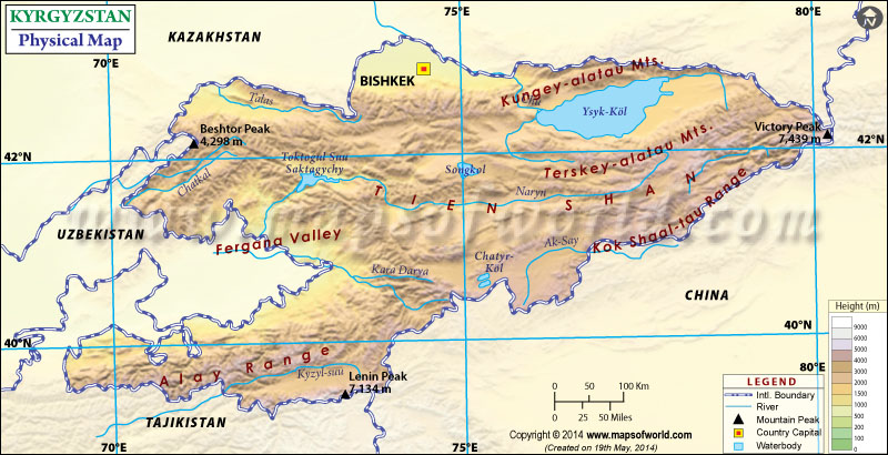 Physical Map of Kyrgyzstan