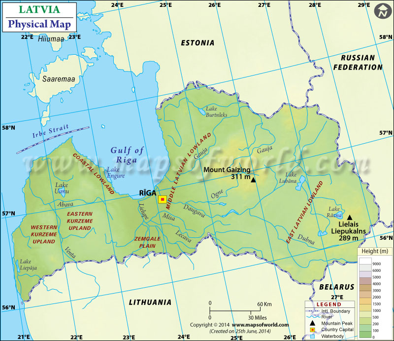 Physical Map of Latvia