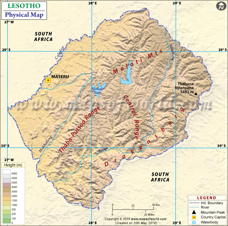 Map Of Lesotho - Lesotho maps with countries