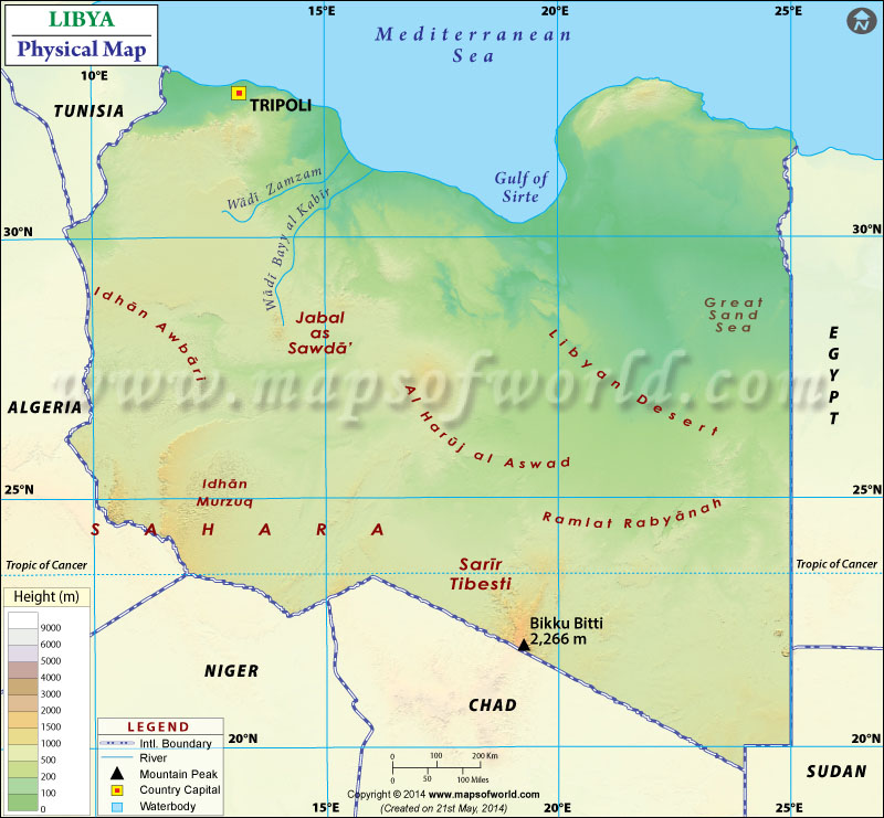 Physical Map of Libya
