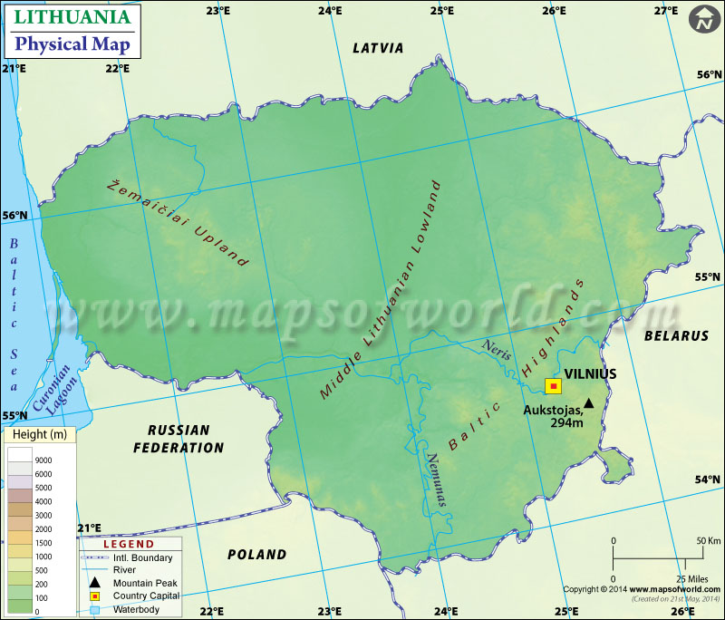 Physical Map of Lithuania