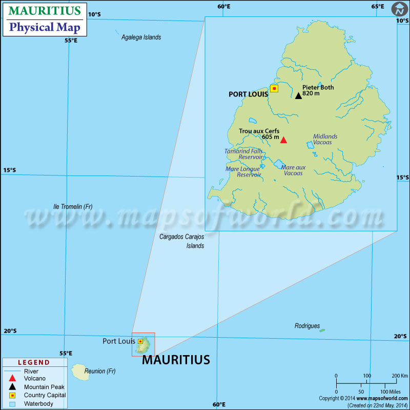 Physical Map Of Mauritius - Political map of mauritius