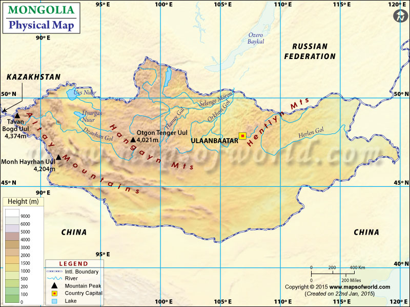 Physical Map of Mongolia