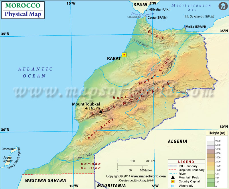 Map Of Morocco - Physical map of peru