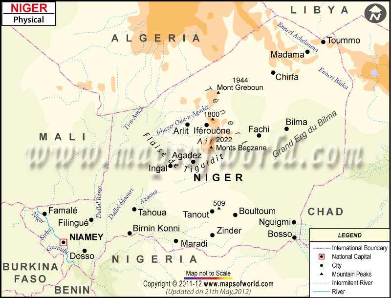 Physical Map of Niger