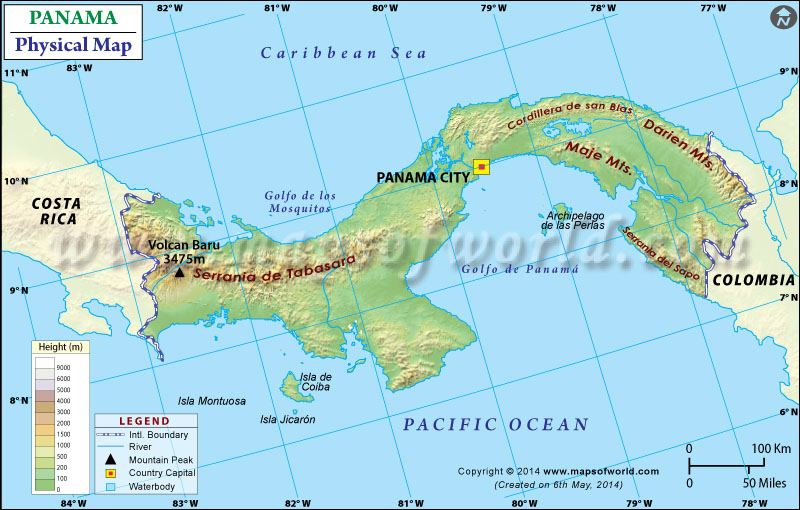 Physical Map Of Panama
