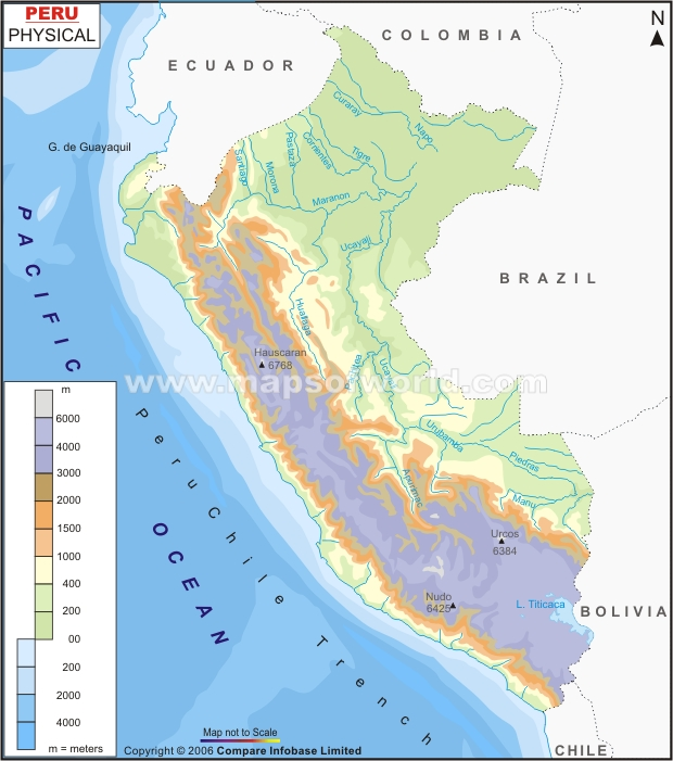 Peru Physical Map Physical Map Of Peru - Physical map of peru
