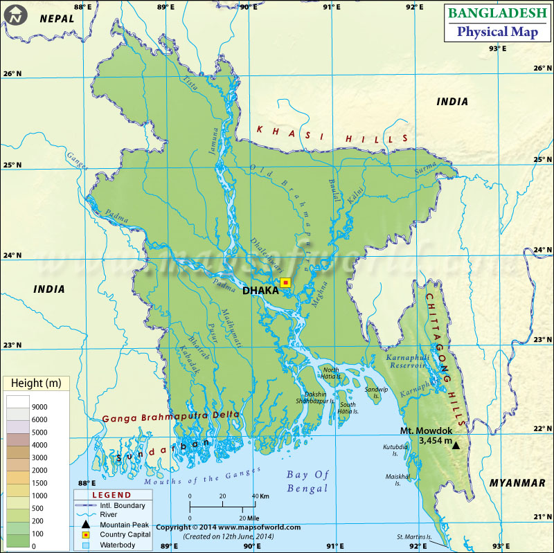 Physical Map of Bangladesh