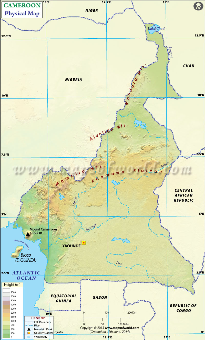 Physical Map of Cameroon