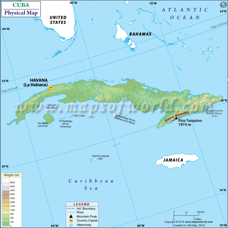 Map Of Cuba - Japan map bodies of water