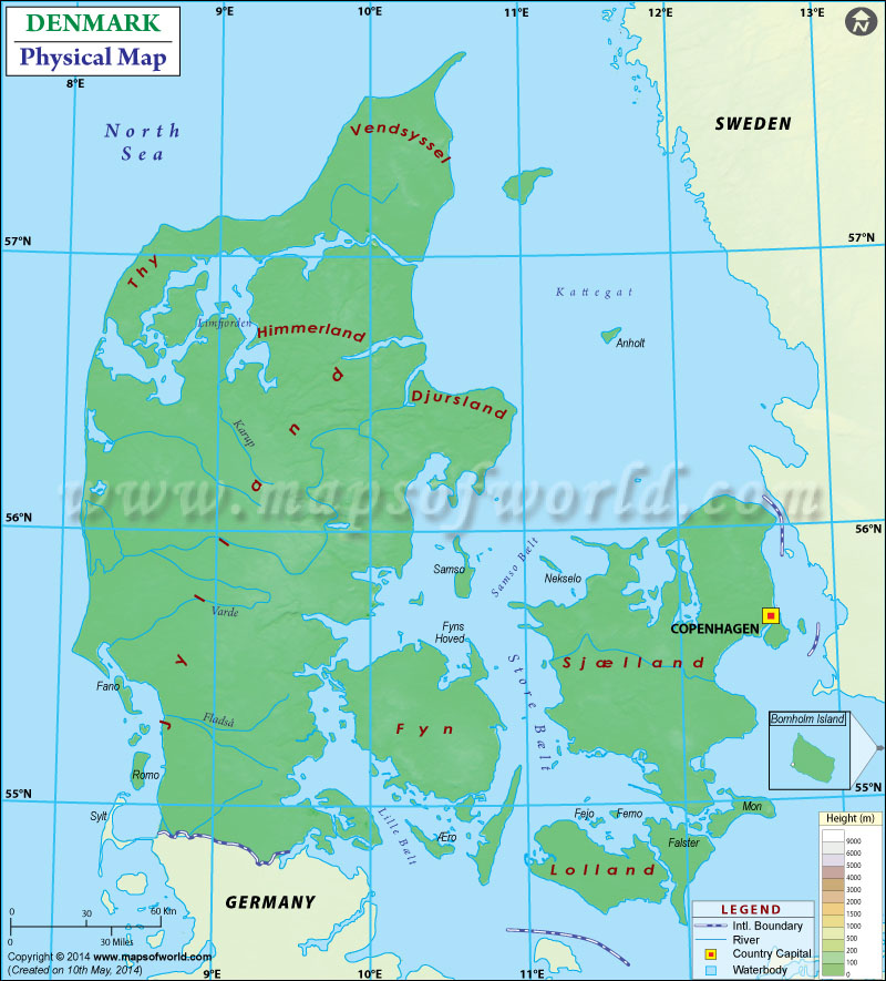 Map of denmark physical map of denmark sciox Images