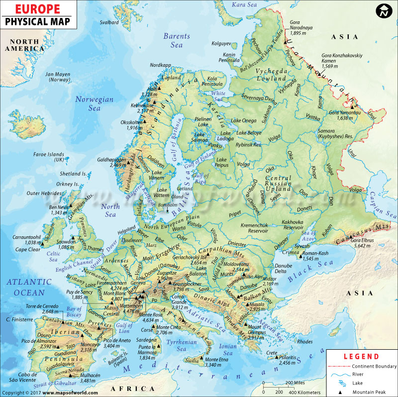 Europe Physical Map | Physical Map of Europe
