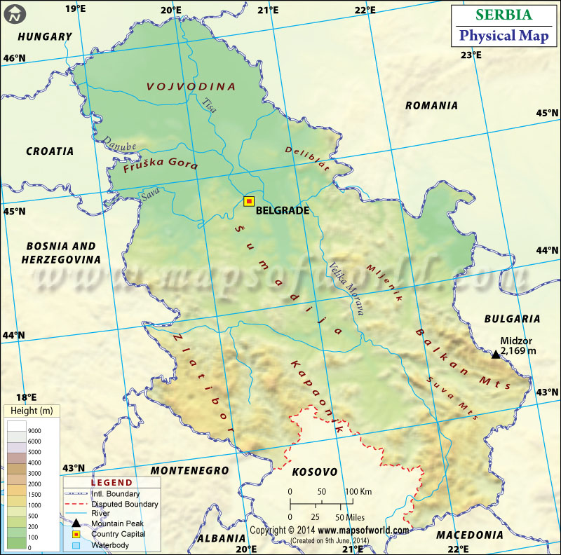 Serbia Physical Map Physical Map Of Serbia - Map of serbia