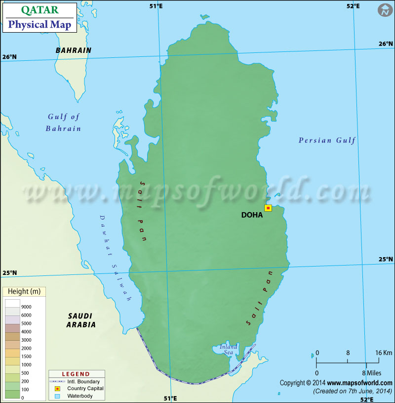 Physical Map of Qatar