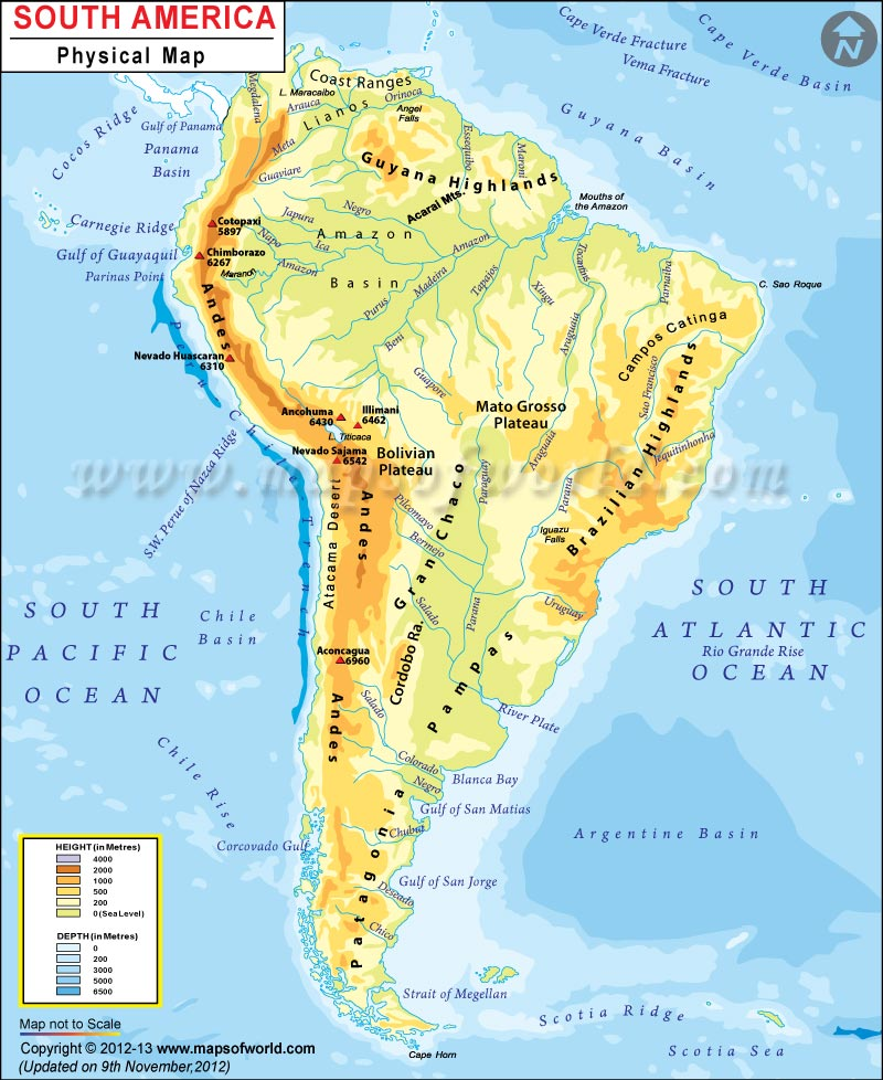 South America Map With Rivers.South America Physical Map Physical Map Of South America