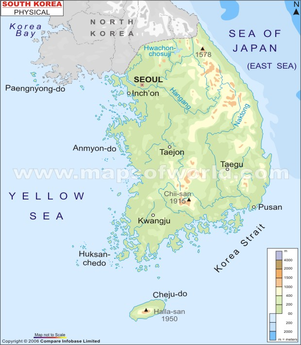 Physical Map of South Korea