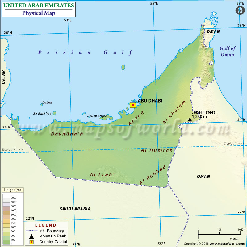 Physical Map of United Arab Emirates UAE Physical Map