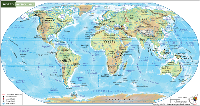 physical map of world with continents World Physical Map Physical Map Of The World physical map of world with continents