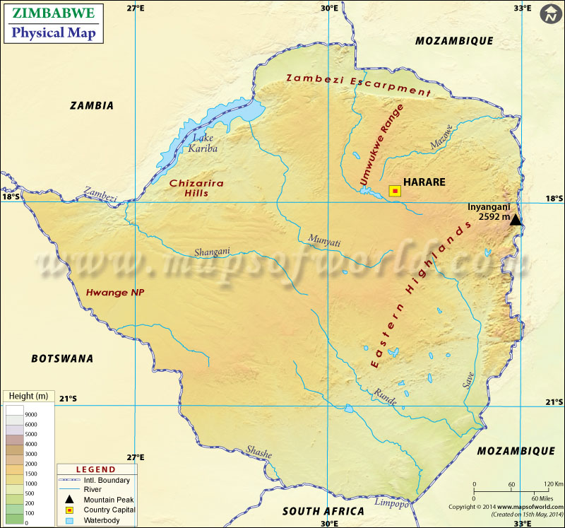Physical Map of Zimbabwe