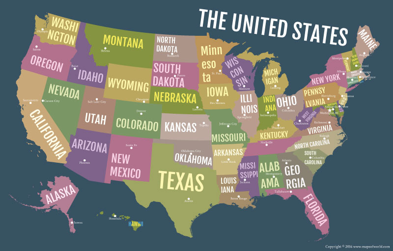 USA Bold State Names Map Poster