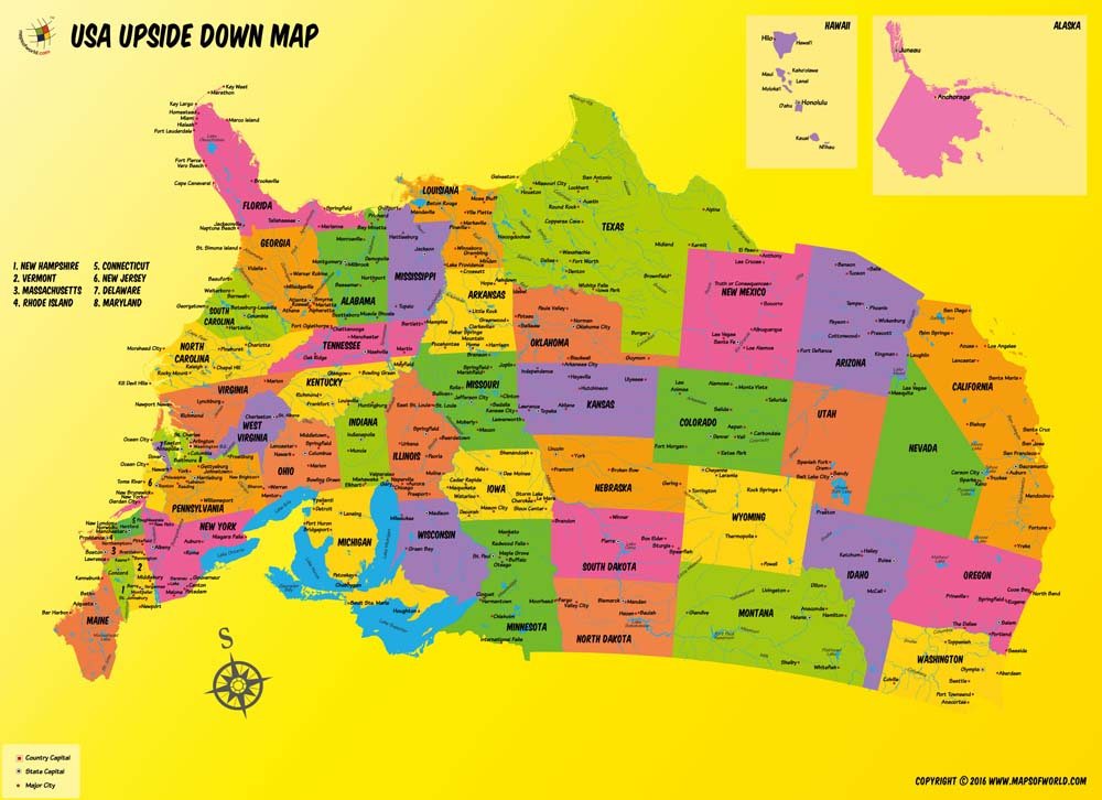 USA Upside Down Poster Map Upside Down US Map Poster - New hampshire in us map