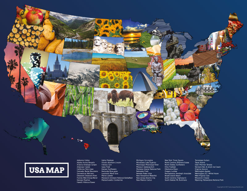 USA Map Photos Poster