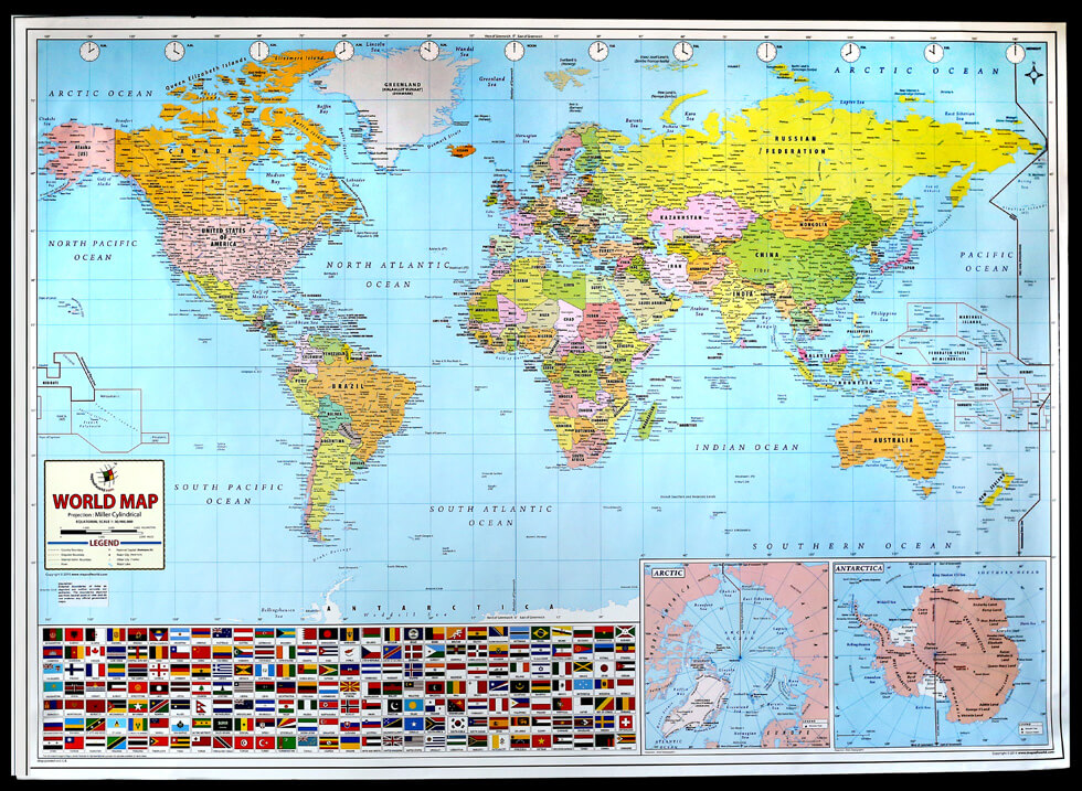 World Map Poster By MapsofWorld - Large us road map poster