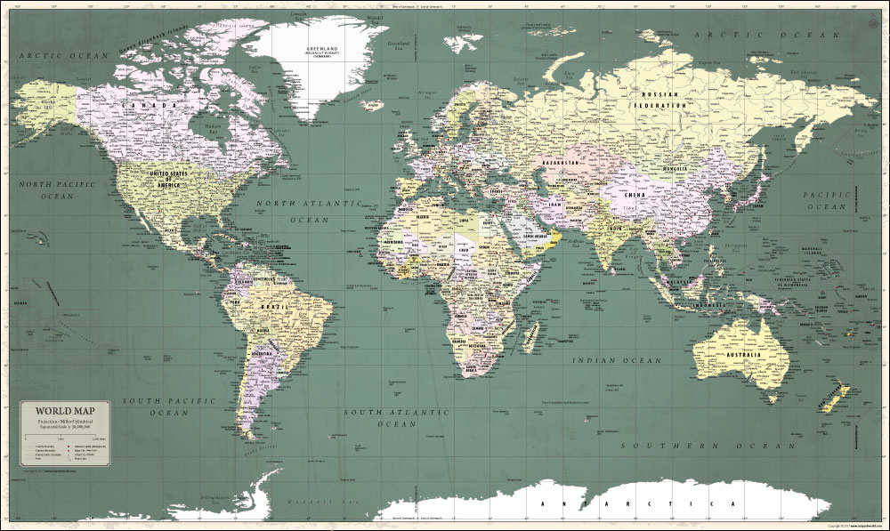 World Map Retro Poster Version - Retro world map poster