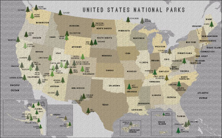 US Map Posters Map Of The United States Poster - Interactive map of us national and state parks