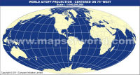 America Centric World Map in Aitoff Projection