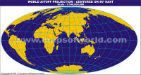 India Centric World Map in Aitoff Projection
