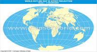 World Outline Map in Aitoff Projection (Light Background)