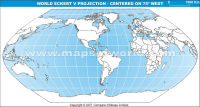 America Centric World Map in Eckert V Projection