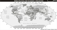 World Map in Eckert V Projection (Grayscale)