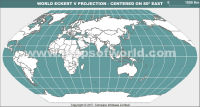 India Centric World Map in Eckert V Projection