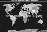 World Physical Map in Robinson Projection in greyscale