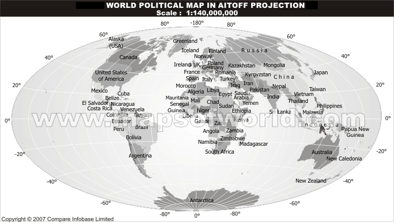 World Grey Political Map With Text