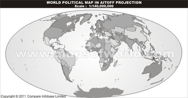 World Grey Political Map Without Text