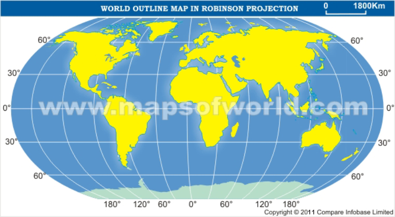 World Outline Map in Robinson Projection