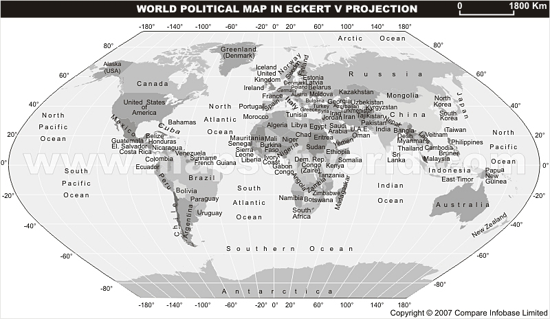 World Grey Political Map in Eckert V Projection With Text