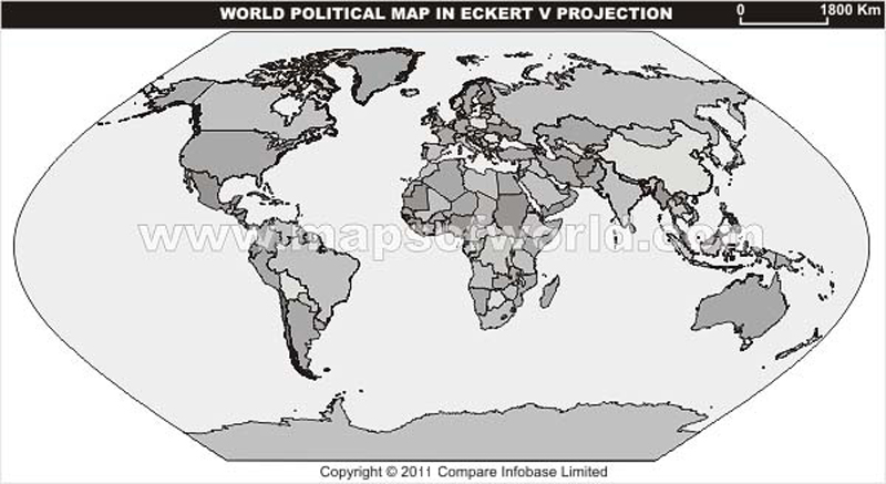 World Grey Political Map in Eckert V Projection Without Text