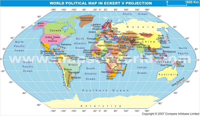 World Political Map in Eckert V Projection With Text
