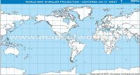 America Centric World Map in Miller Projection